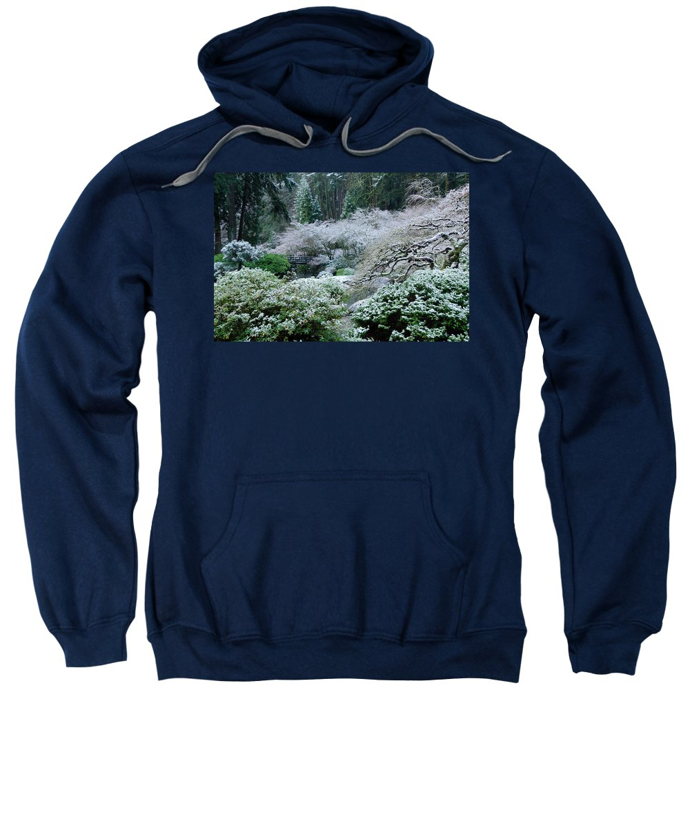 Asian Sweatshirt featuring the photograph Morning Snow In The Garden by Don Schwartz