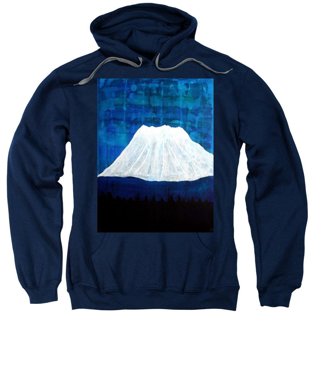 Mountain Sweatshirt featuring the painting Mount Shasta Original Painting by Sol Luckman