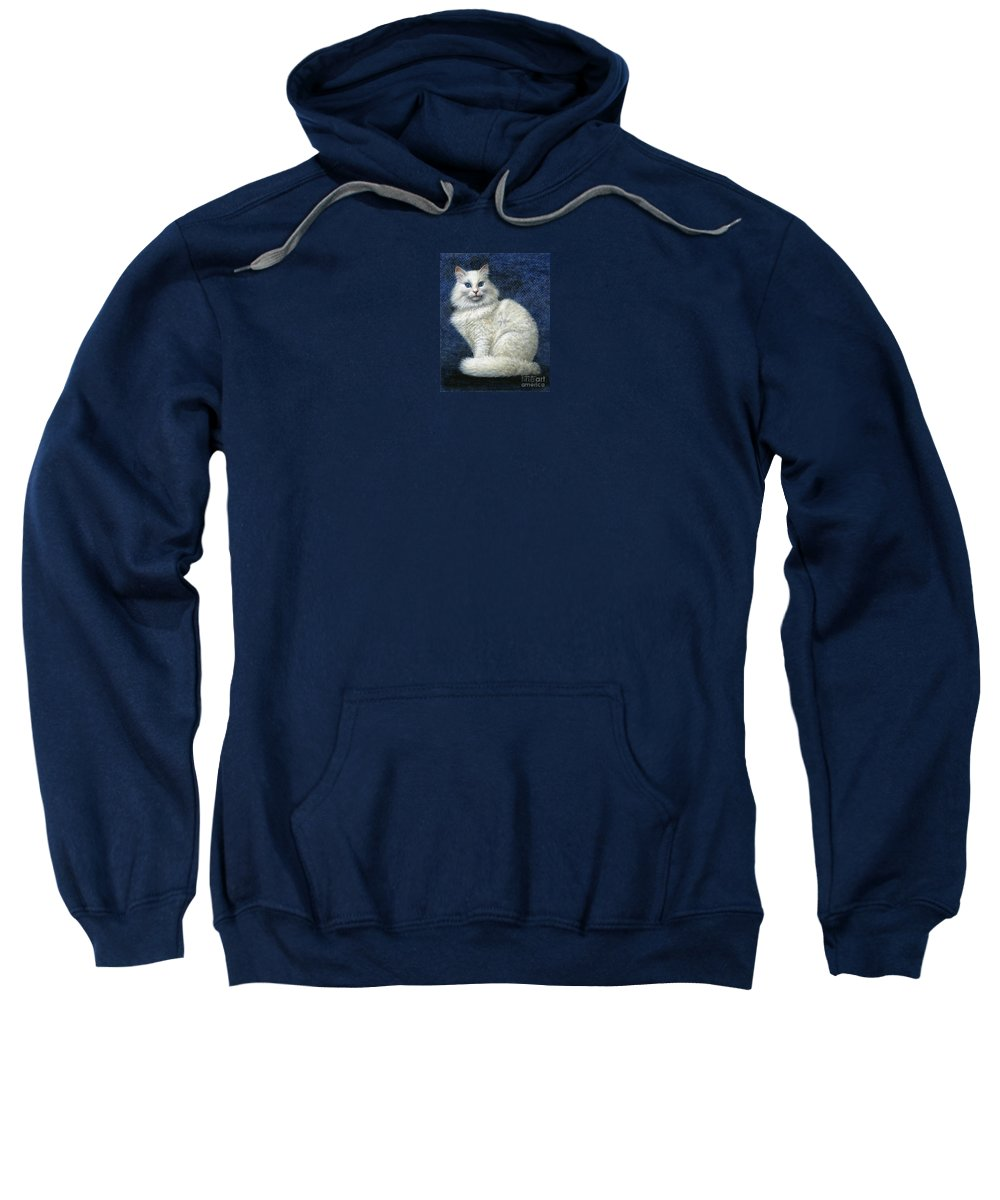 Cat Sweatshirt featuring the painting Mrs. Moon by Jane Bucci
