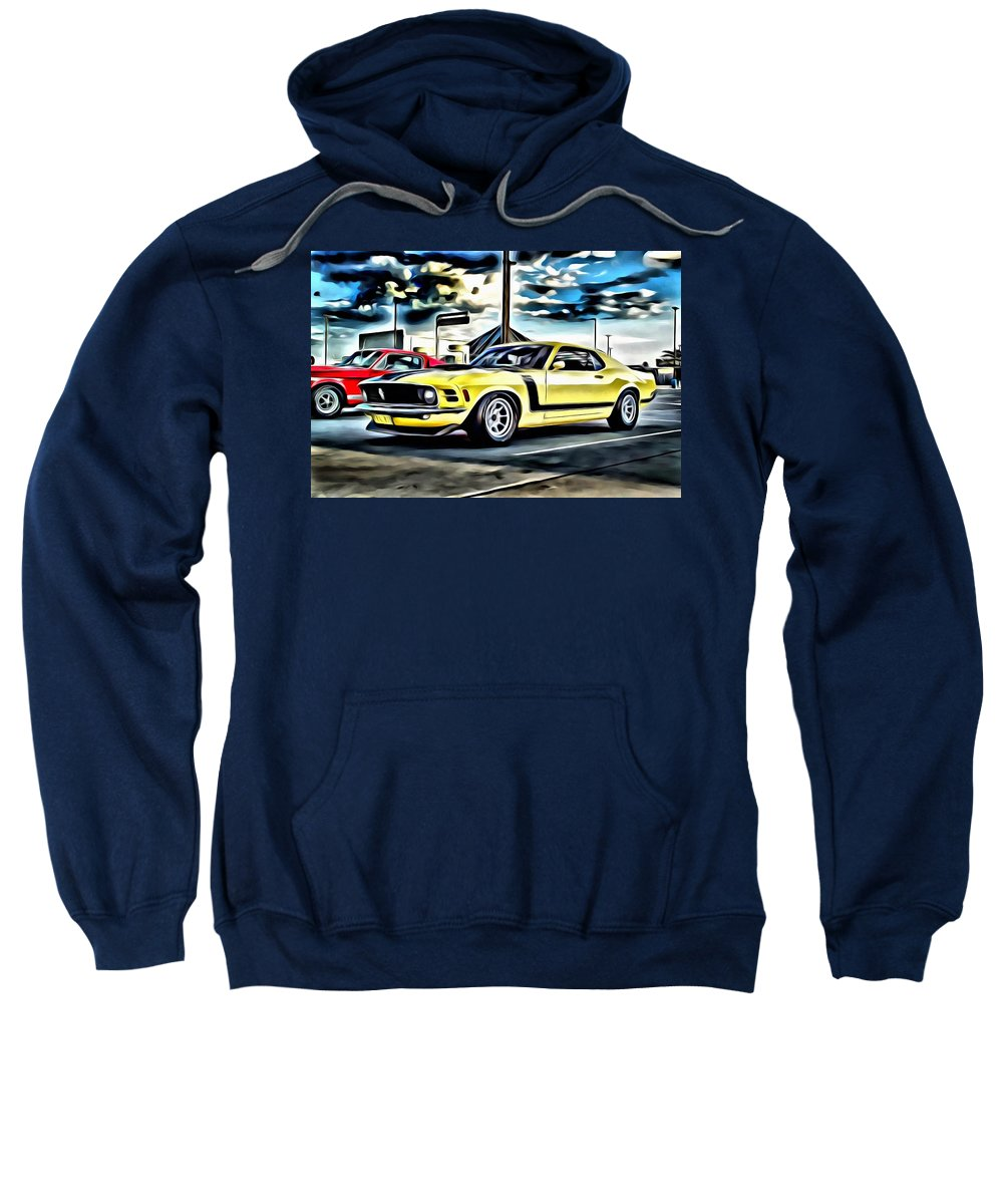 Car Sweatshirt featuring the painting Mustang Boss 302 by Florian Rodarte