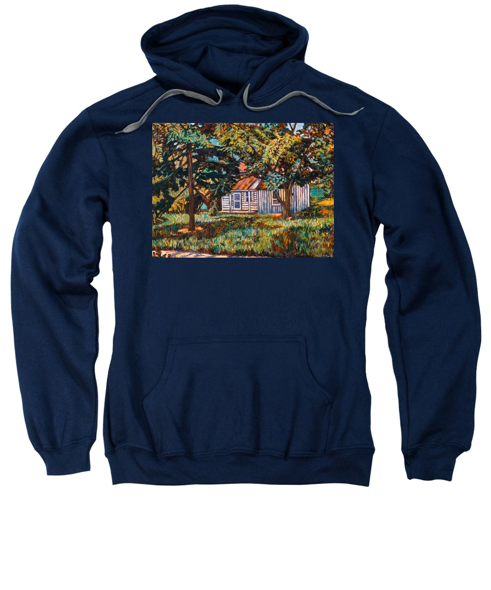 Architecture Sweatshirt featuring the painting Near The Tech Duck Pond by Kendall Kessler