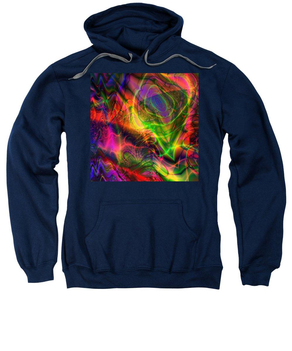 Psychedelic Sweatshirt featuring the digital art Neon Filigree by Kiki Art