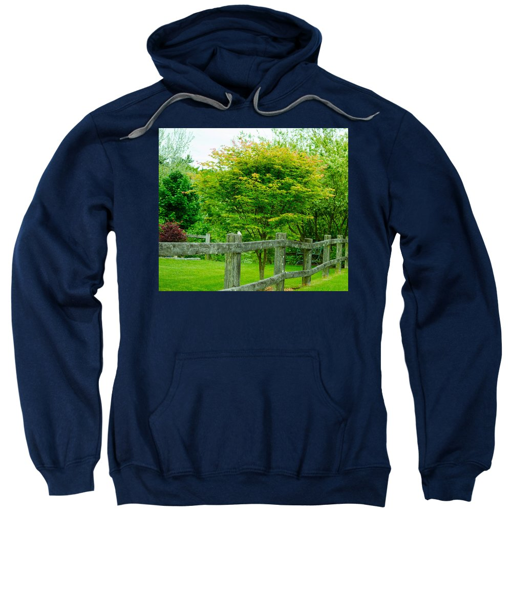 New England Sweatshirt featuring the photograph New England Wooden Fence by Michael Moriarty