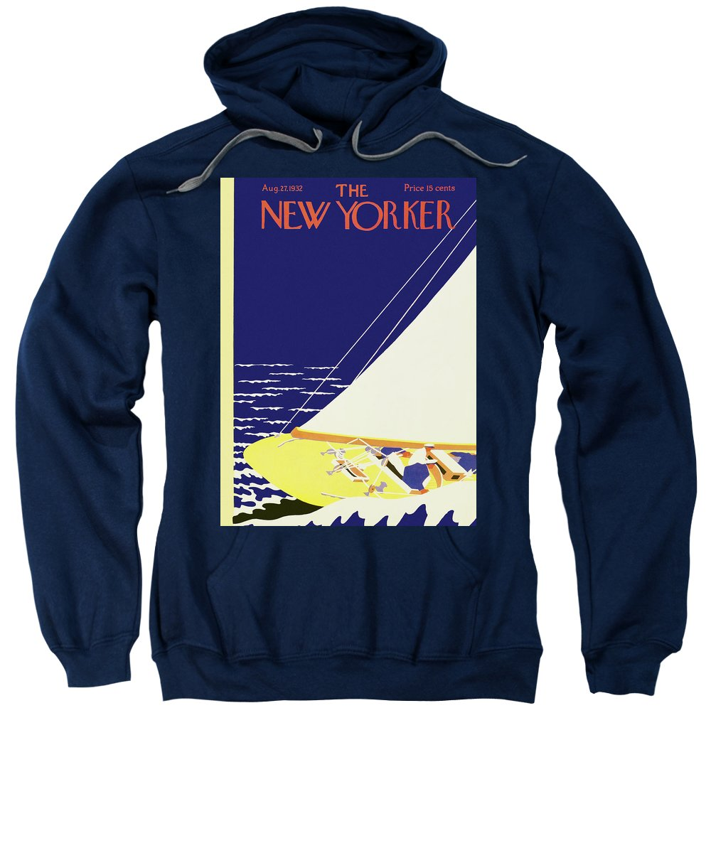 Illustration Sweatshirt featuring the painting New Yorker August 27 1932 by S Liam Dunne