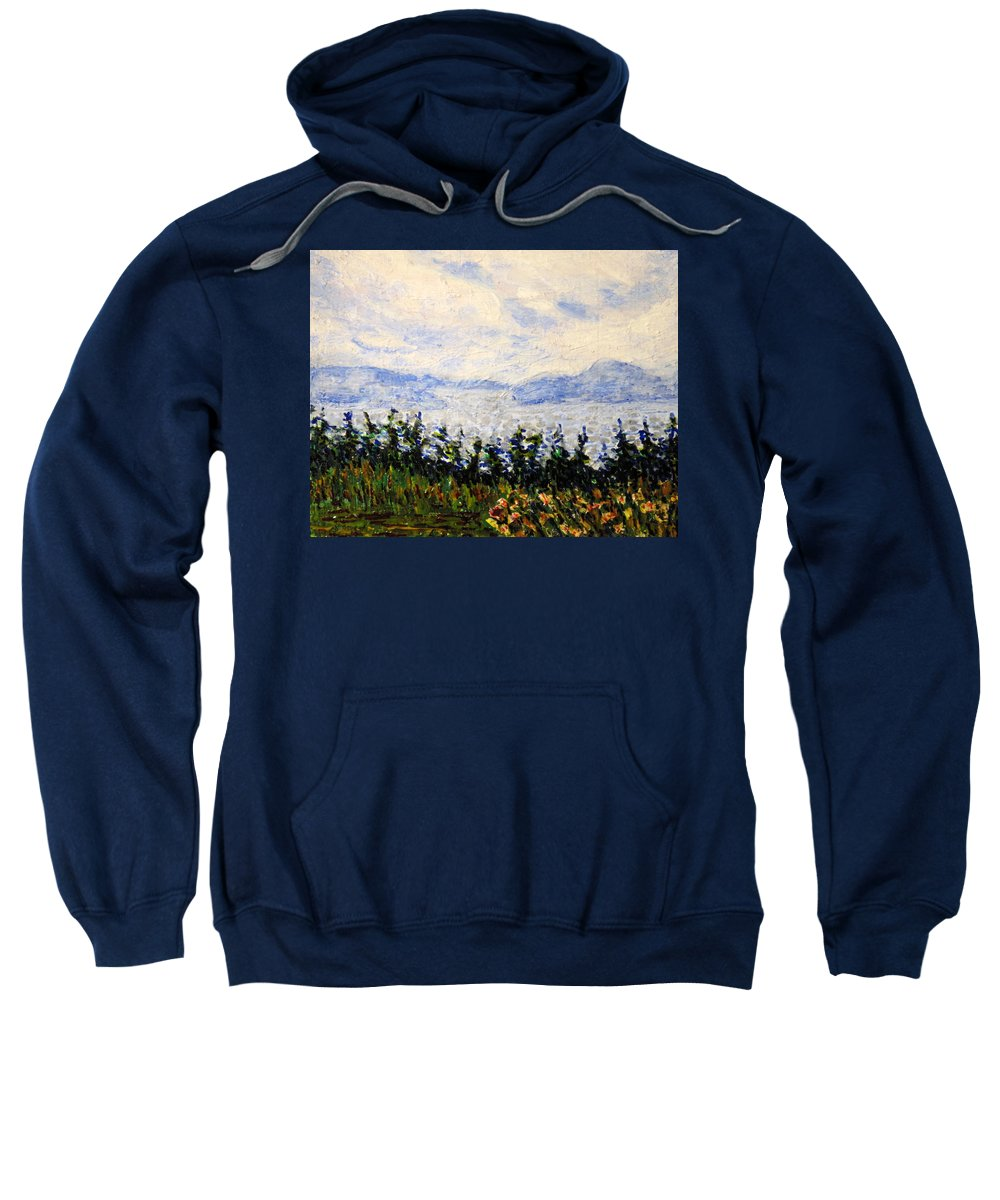 Newfoundland Sweatshirt featuring the painting Newfoundland Up The West Coast by Ian MacDonald
