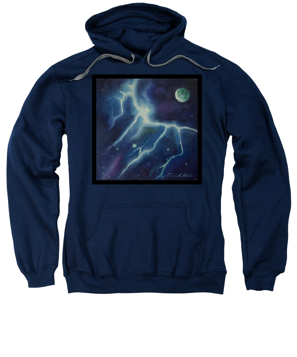 Purple; Red; Blue; Stunning; Landscape; James C. Hill; Copyright 2014 - James Christopher Hill; Jameshillgallery.com; Sci-fi; Science Fiction; Spheres; Power; Light; Ball; Motion; Concept Art; Concept Sketch; Nebula; Astronomy; Space; Gas; Planet; Star Sweatshirt featuring the painting Ngc - 1018 by James Christopher Hill