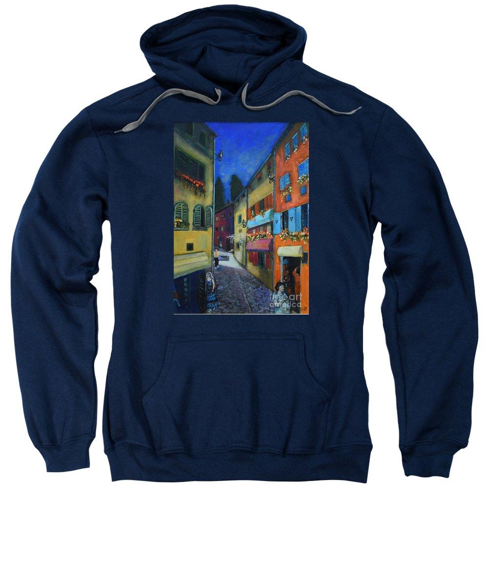 Raija Merila Sweatshirt featuring the painting Night Street In Pula by Raija Merila