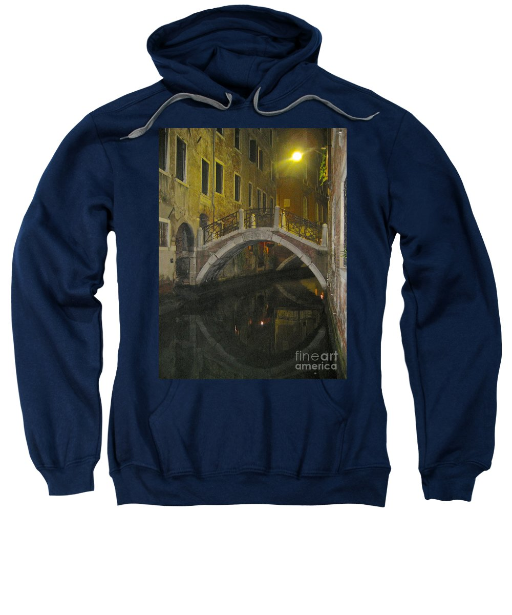 Venice Italy Canals Sweatshirt featuring the photograph Night Time In Venice by Suzanne Oesterling