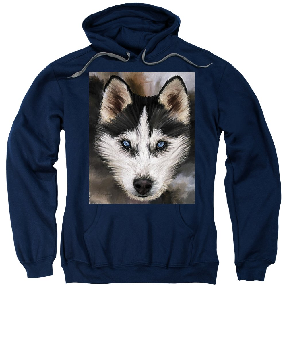 Dog Art Sweatshirt featuring the painting Nikki by David Wagner