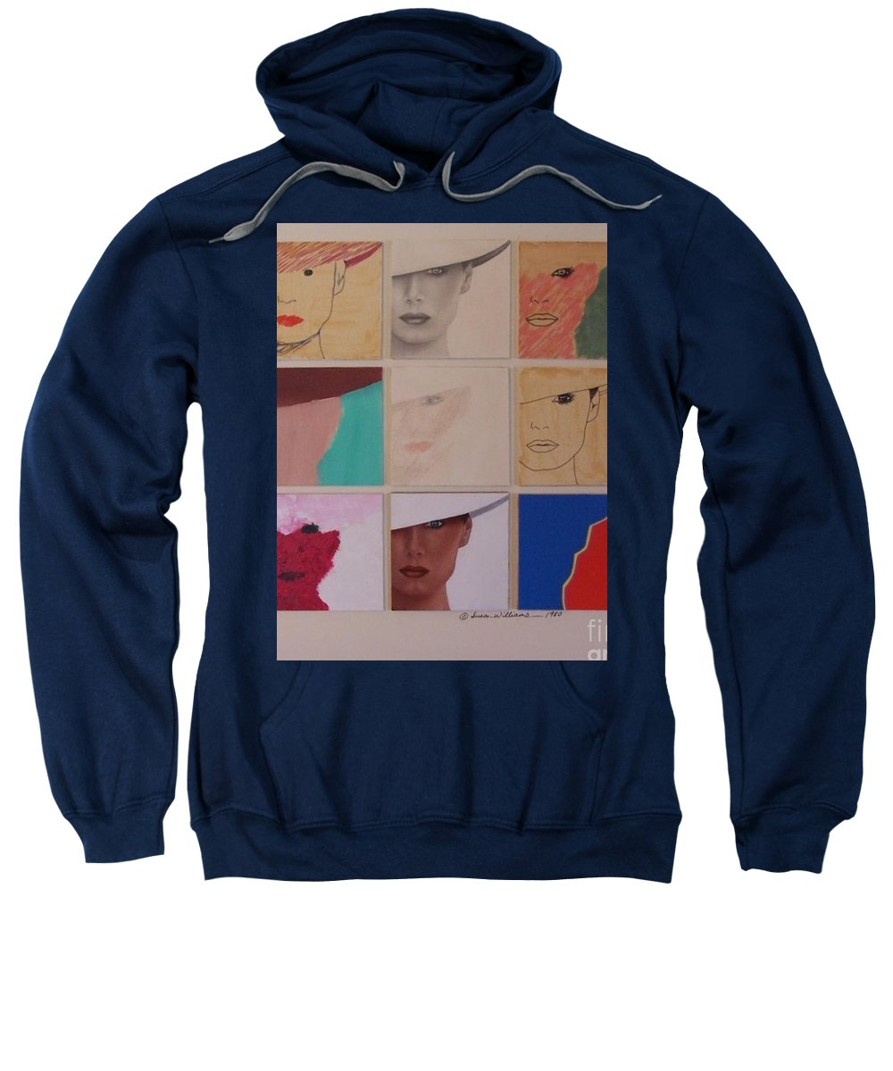 Blue Sweatshirt featuring the painting Nine Ladies Lolling by Susan Williams