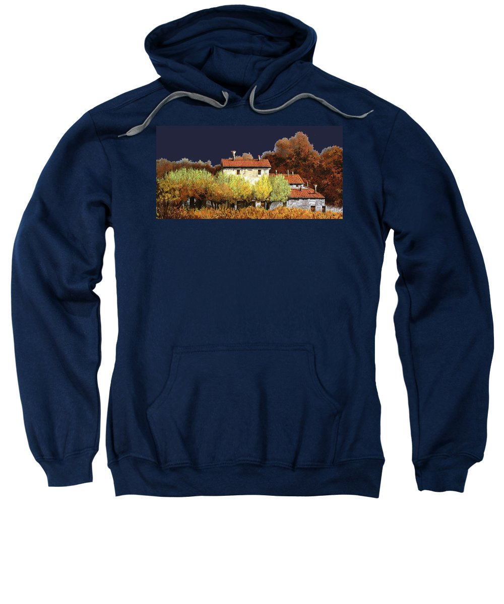 Vineyard Sweatshirt featuring the painting Notte In Campagna by Guido Borelli