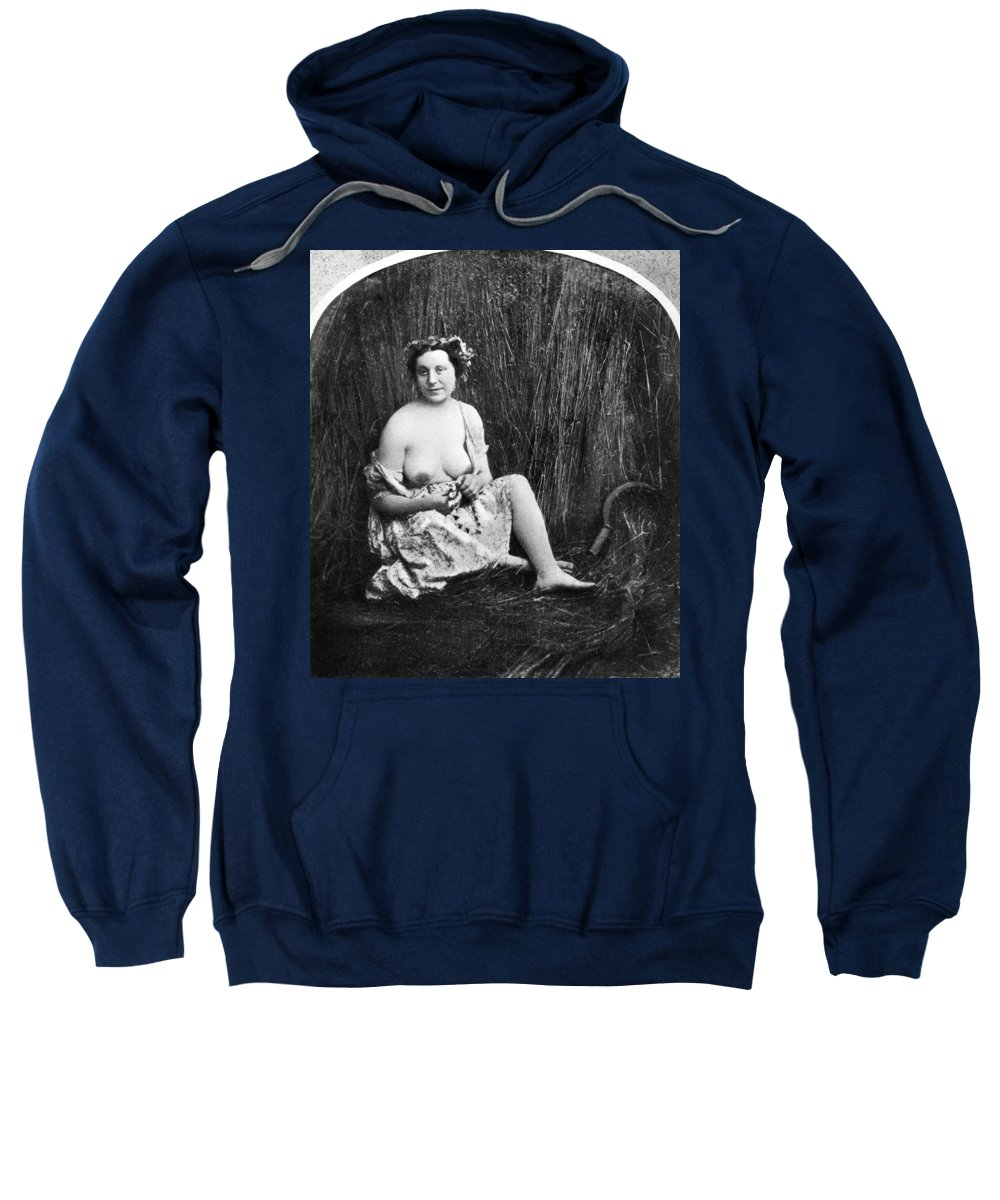 1850 Sweatshirt featuring the photograph Nude In Field, C1850 by Granger