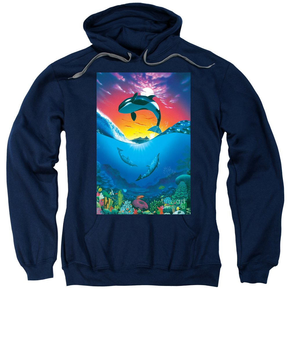Dolphin Sweatshirt featuring the photograph Ocean Freedom by MGL Studio - Chris Hiett