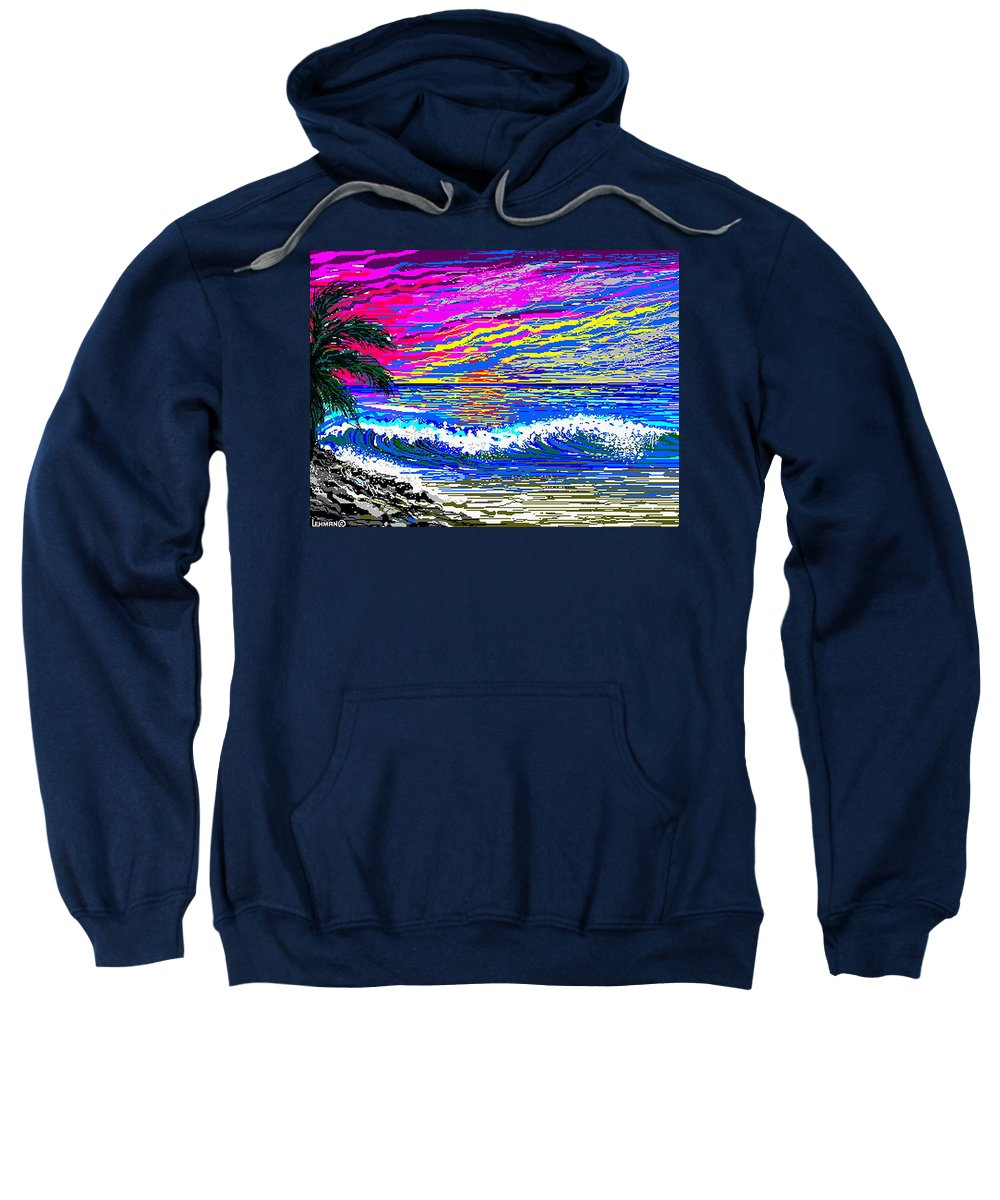 Ocean Sunset Quickly Sketched In One Hour. Sweatshirt featuring the digital art Ocean Sunset by Larry Lehman
