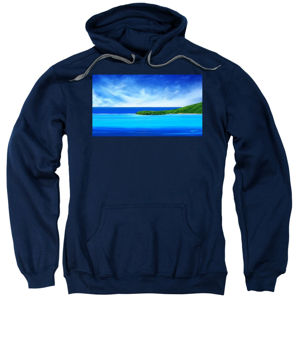 Tropical.tropical Island.tropical Island Print.ocean.ocean Print.turquois Sea.turquois Water.seascape Sweatshirt featuring the digital art Ocean Tropical Island by Anthony Fishburne
