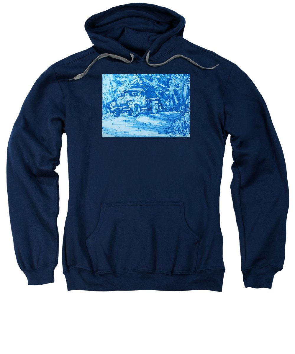 Old Truck Sweatshirt featuring the drawing Old Blue Truck by Geoffrey Haun