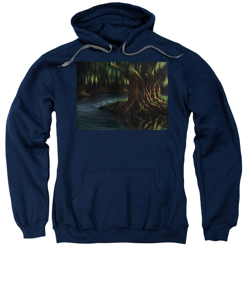Abstract Sweatshirt featuring the painting Old Man Willow by Rachel Christine Nowicki