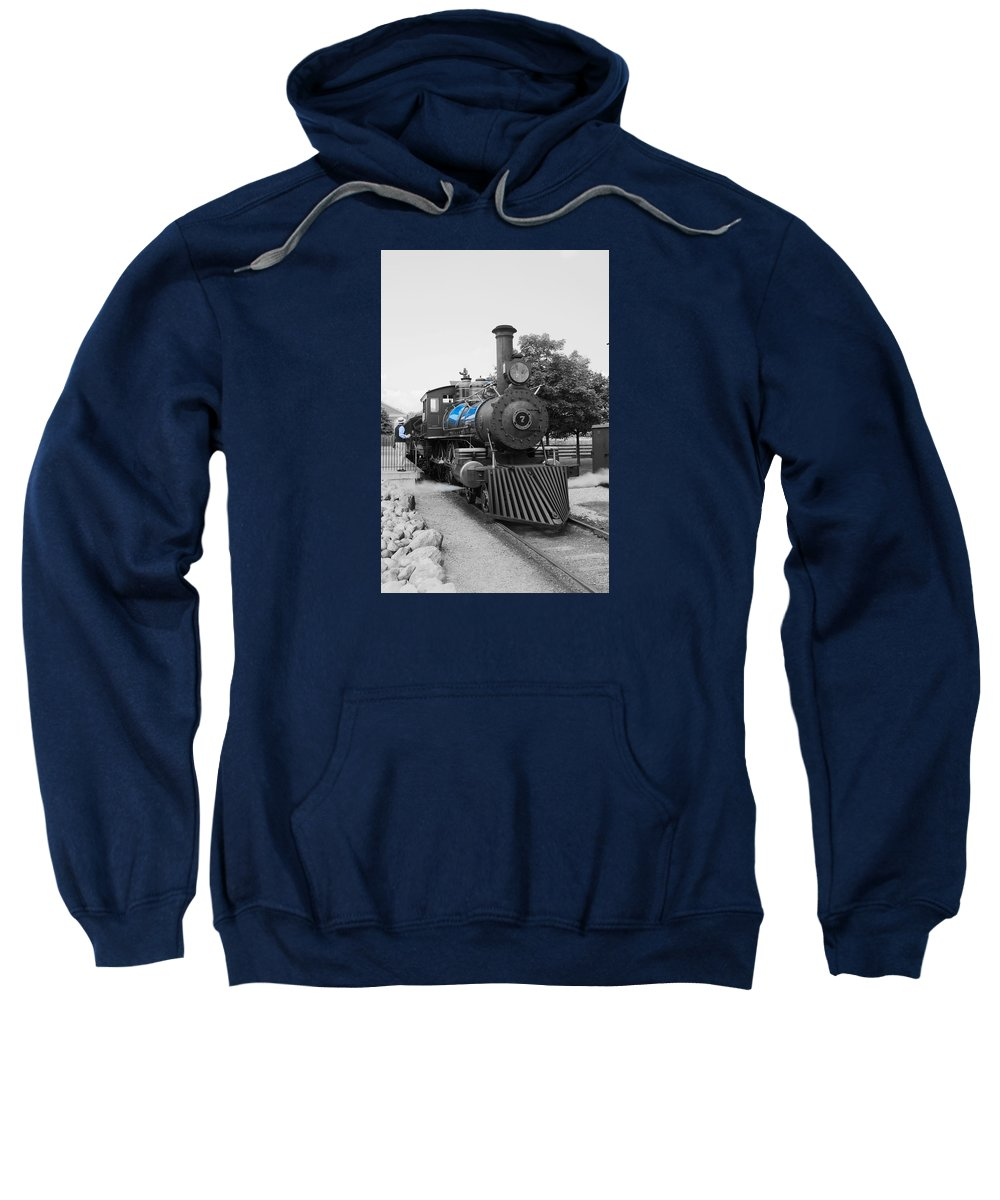 Sweatshirt featuring the photograph Old No. 7 Black White And Blue by Daniel Thompson