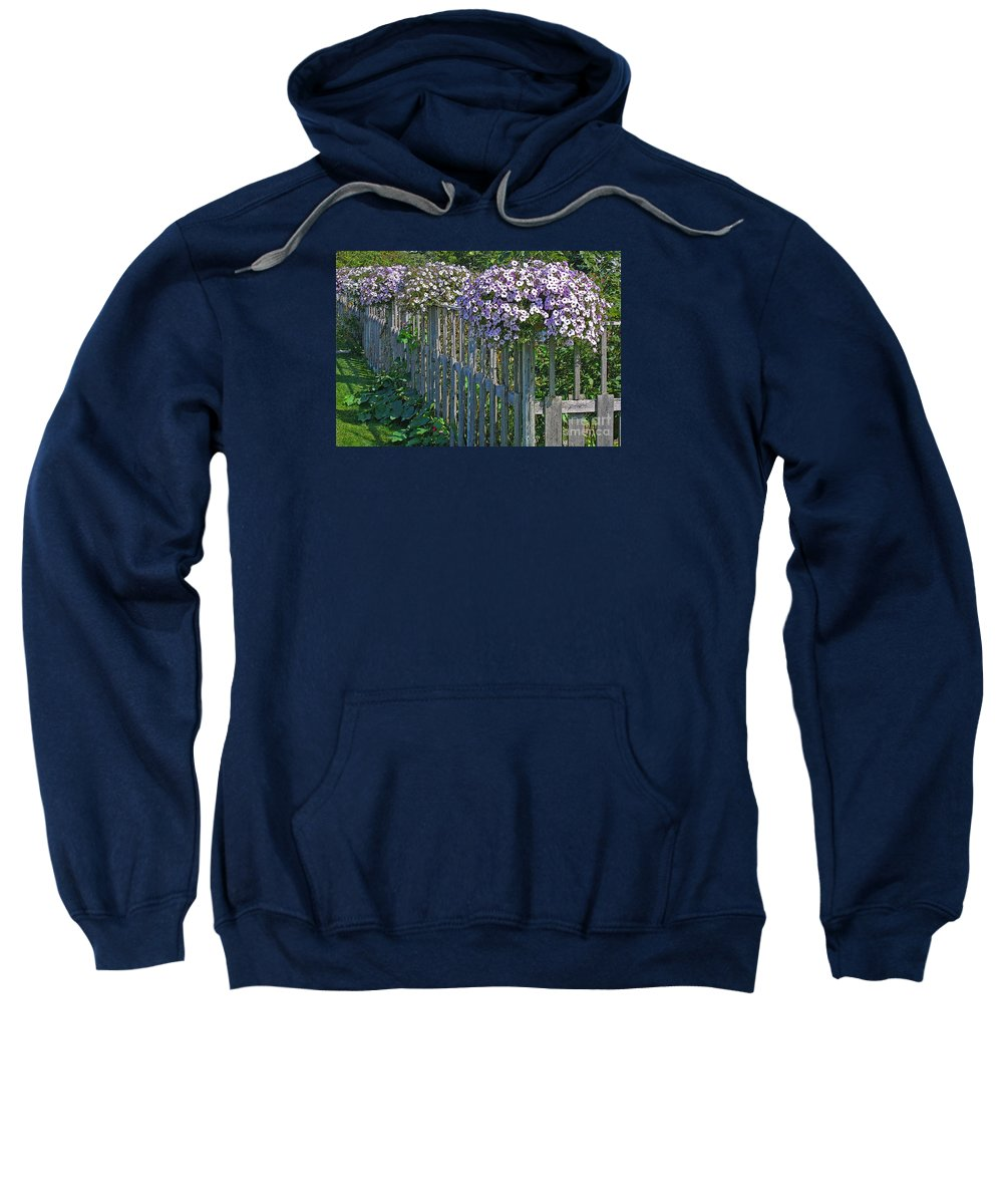 Petunia Sweatshirt featuring the photograph On The Fence by Ann Horn
