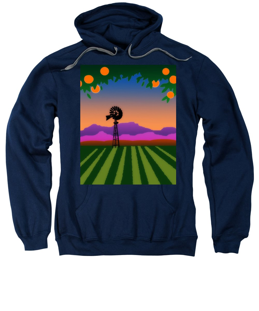Orange County Sweatshirt featuring the digital art Orange County by Timothy Bulone