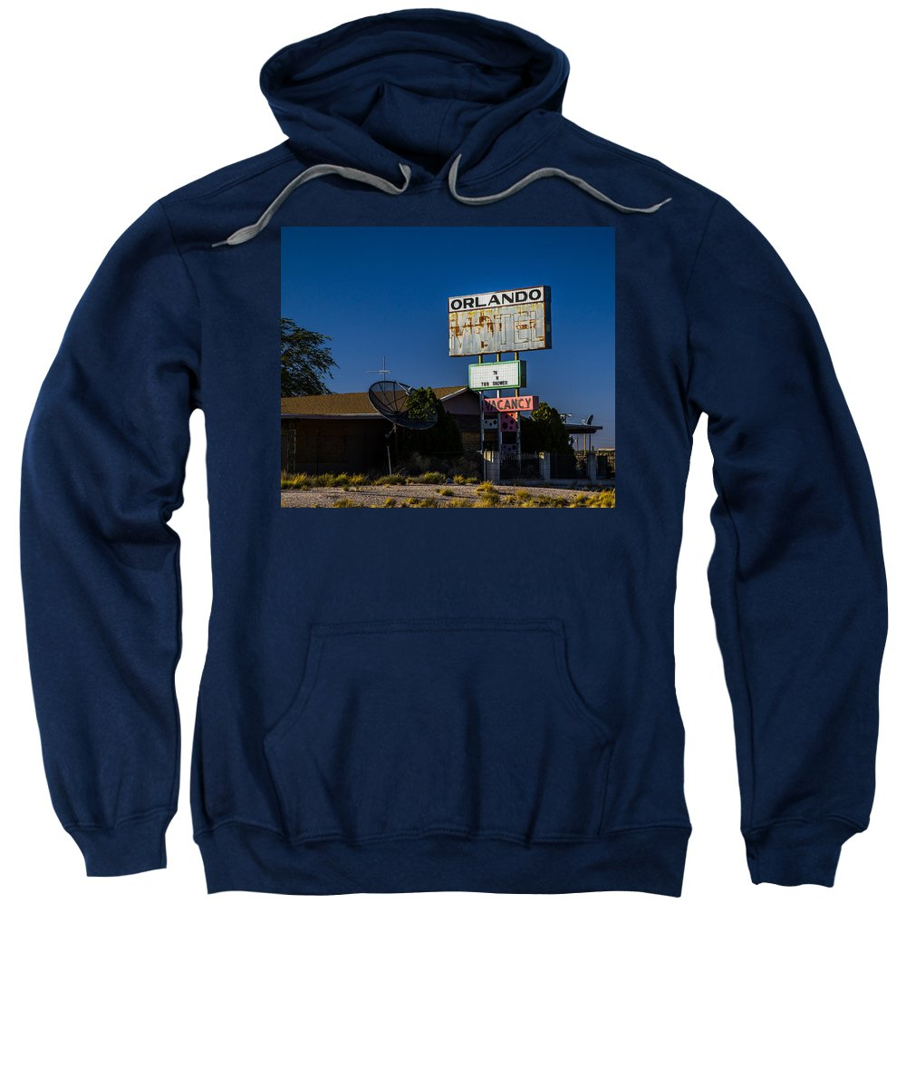 Route 66 Sweatshirt featuring the photograph Orlando Motel by Angus Hooper Iii