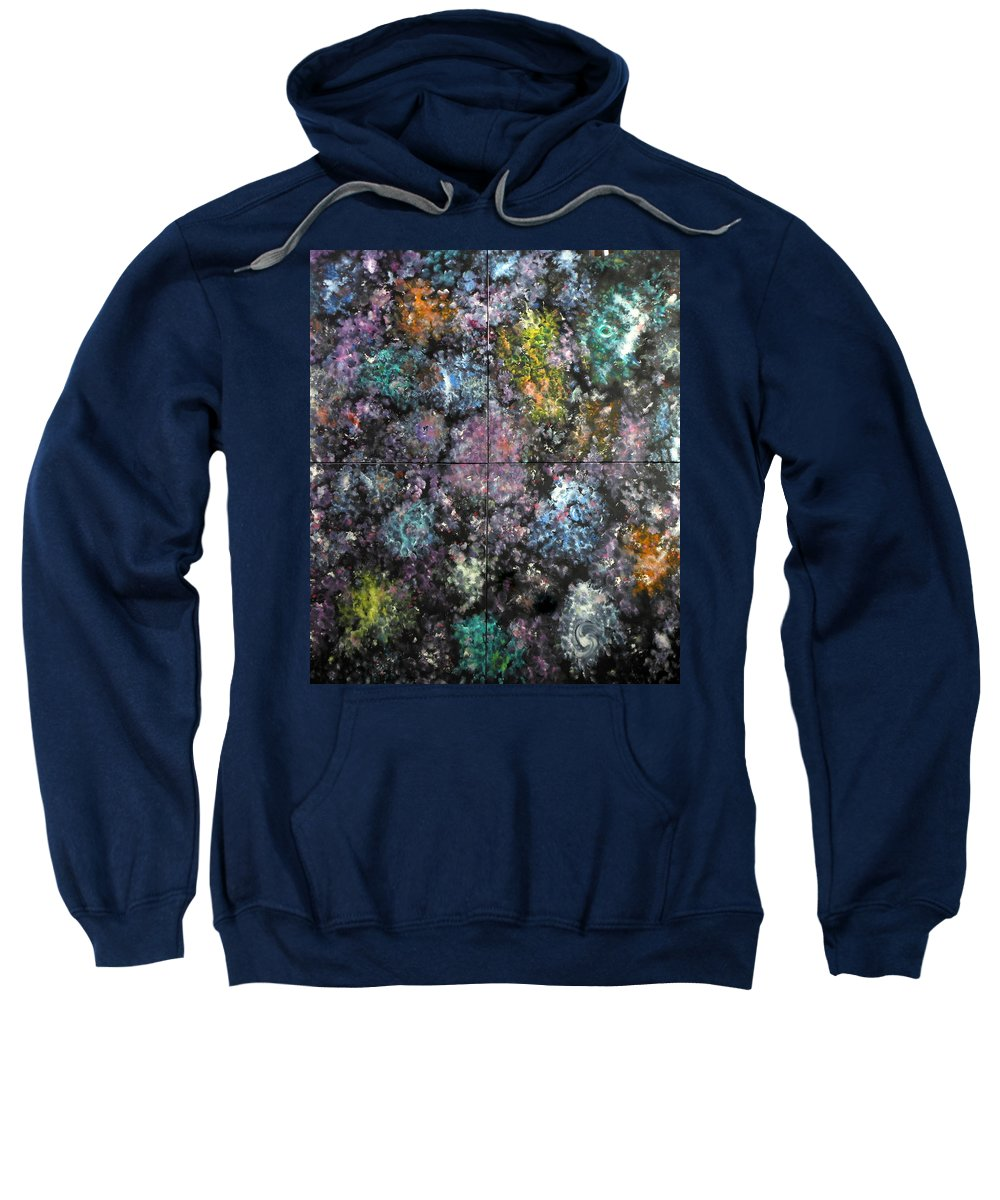 Space Mystique Nebulae Colorful Multicolor Black Abstract Large Musical Optical-illusion 4square Meters Joyful Time-machine Cosmos Space Intrigue Time Past Present Future Death Life Illumination Really Serendipity Serendipitous Reality Sweatshirt featuring the painting Other Dimensions - The Anunnaki by David Mintz