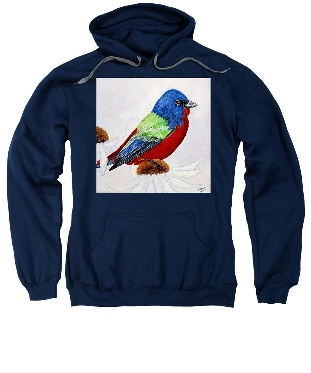 Painted Bunting Sweatshirt featuring the painting Painted Bunted by Sandra Maddox