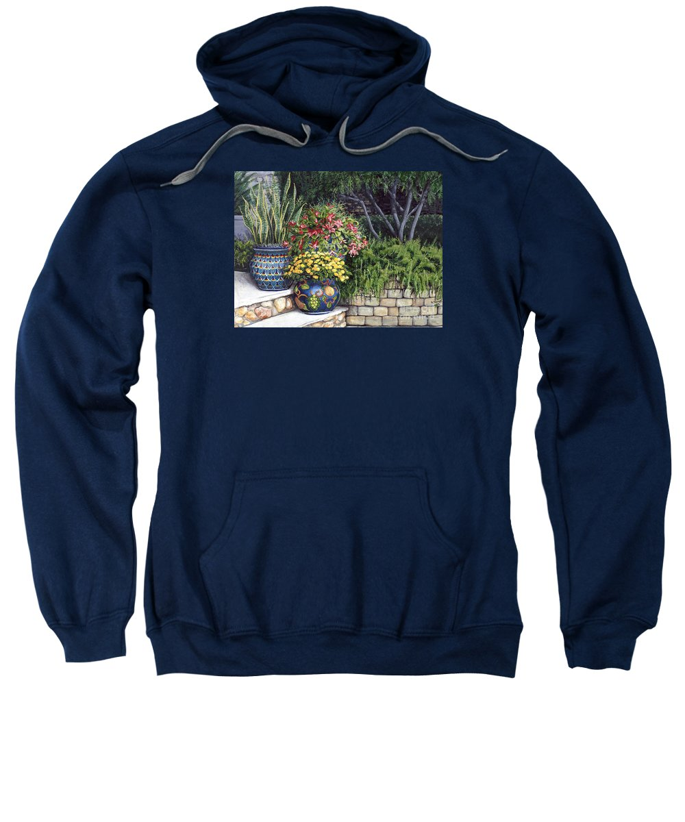 Floral Sweatshirt featuring the painting Painted Pots by Mary Palmer