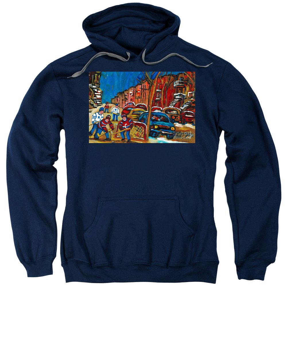 Montreal Sweatshirt featuring the painting Paintings Of Montreal Hockey City Scenes by Carole Spandau