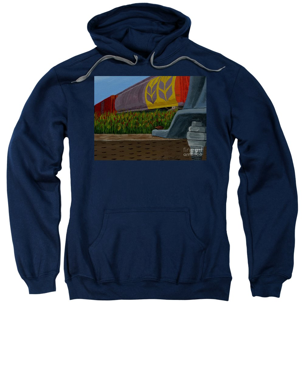 Train Sweatshirt featuring the painting Passing The Wild Ones by Anthony Dunphy