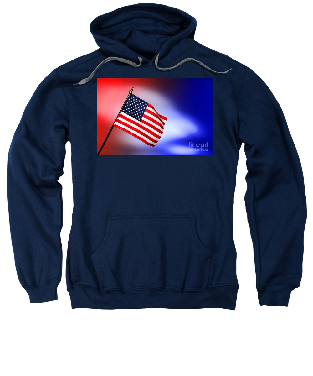 Flag Sweatshirt featuring the photograph Patriotic American Flag by Olivier Le Queinec