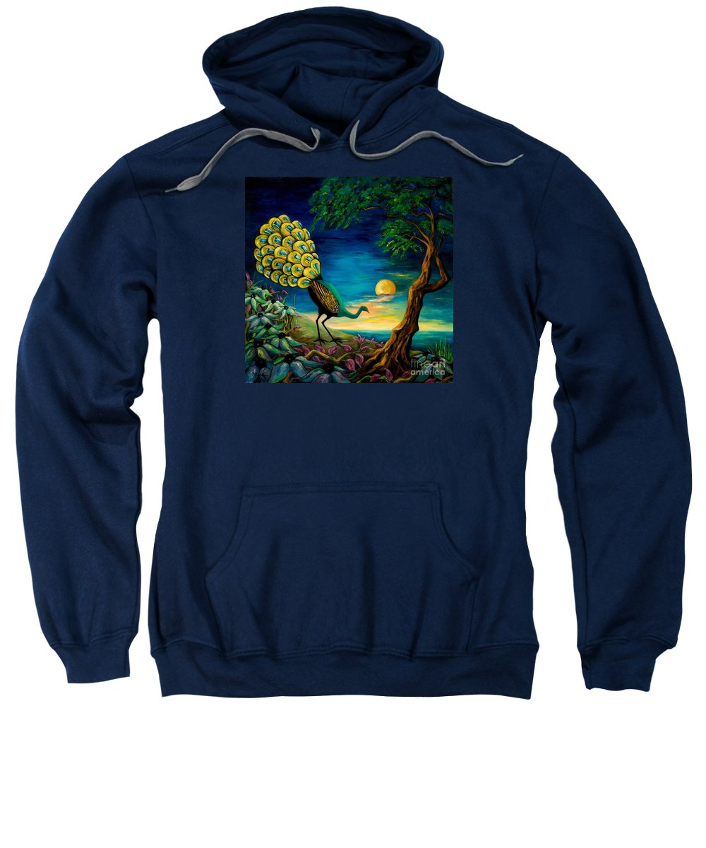 Peacock Sweatshirt featuring the painting Peacock Strolls On The Beach by Larry Martin