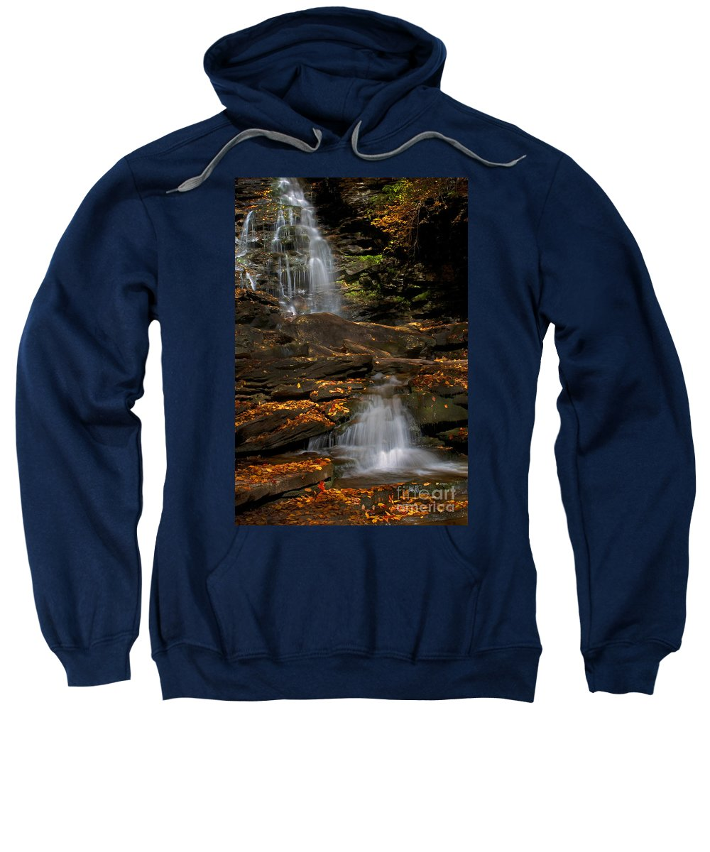 Ricketts Glen Sweatshirt featuring the photograph Pennsylvania Waterfalls by Paul W Faust - Impressions of Light