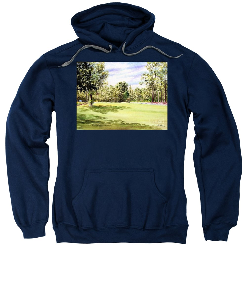Perry Golf And Country Club Sweatshirt featuring the painting Perry Golf Course Florida by Bill Holkham