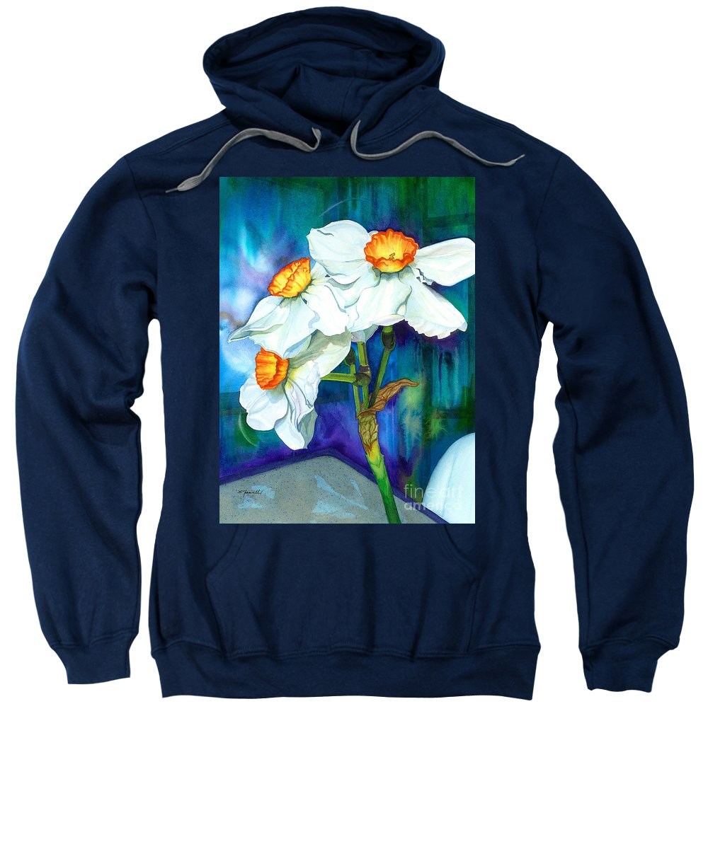 Flowers Sweatshirt featuring the painting Petal Portrait by Barbara Jewell