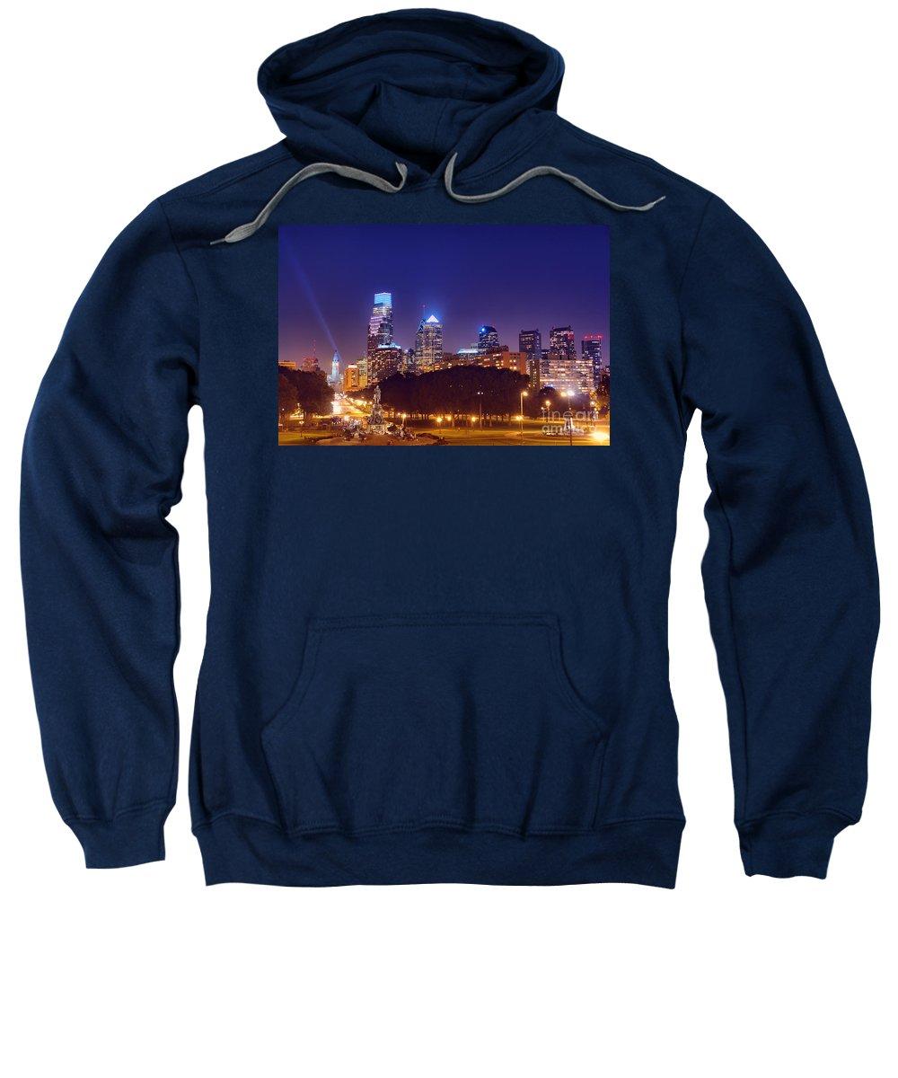 Philadelphia Sweatshirt featuring the photograph Philadelphia Nightscape by Olivier Le Queinec