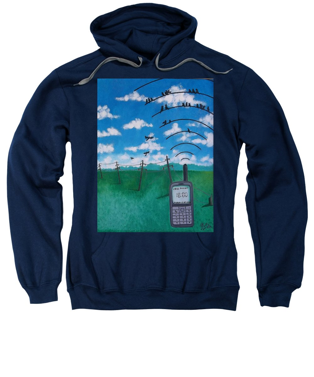 Phone Sweatshirt featuring the painting Phone Calls by Ramadan Agolli