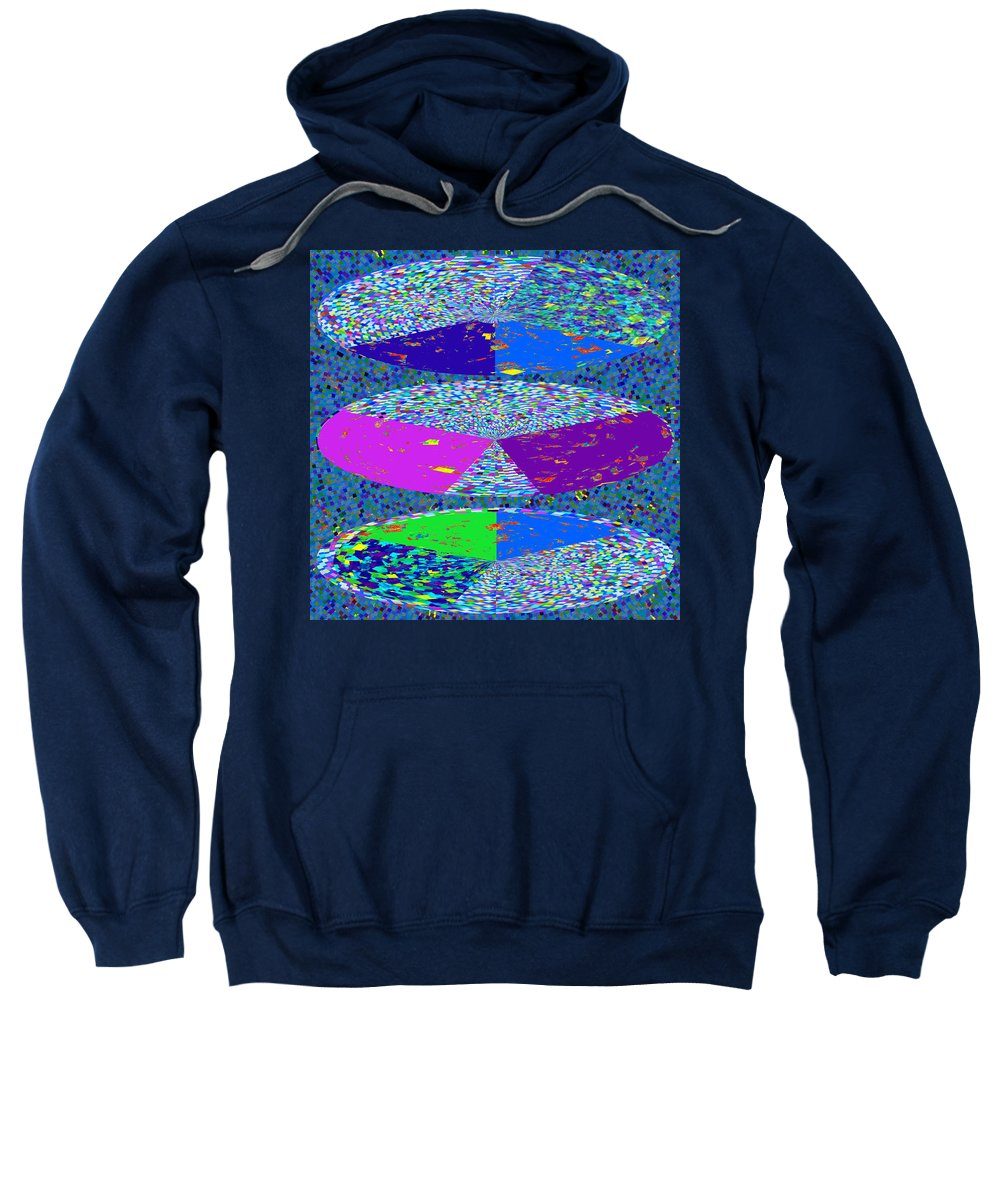 Pie Chart Sweatshirt featuring the mixed media Pie Chart Twirl Tornado Colorful Blue Sparkle Artistic Digital Navinjoshi Artist Created Images Text by Navin Joshi