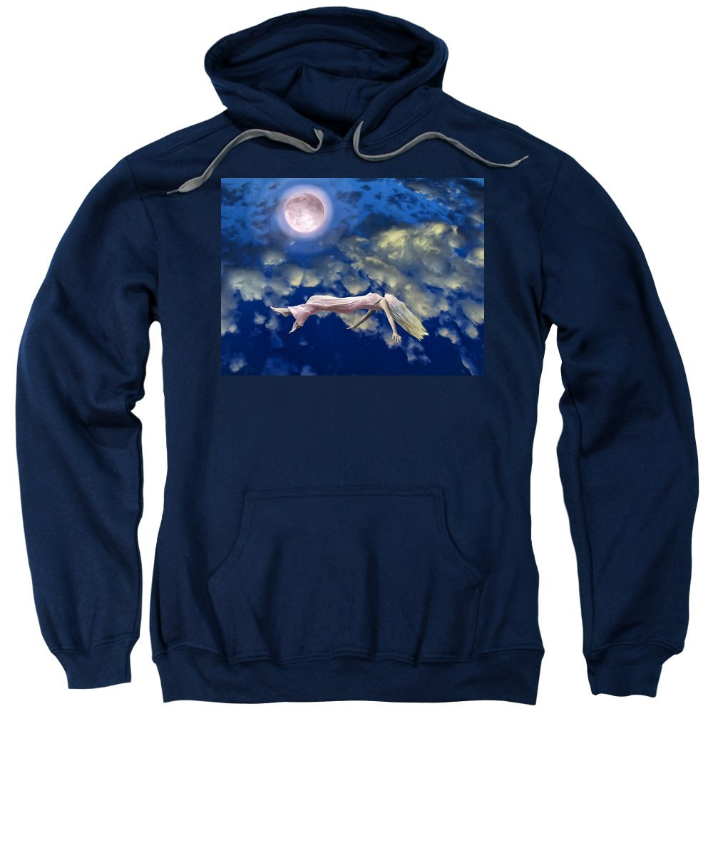 Pink Moon Sweatshirt featuring the painting Pink Moon by Dominic Piperata