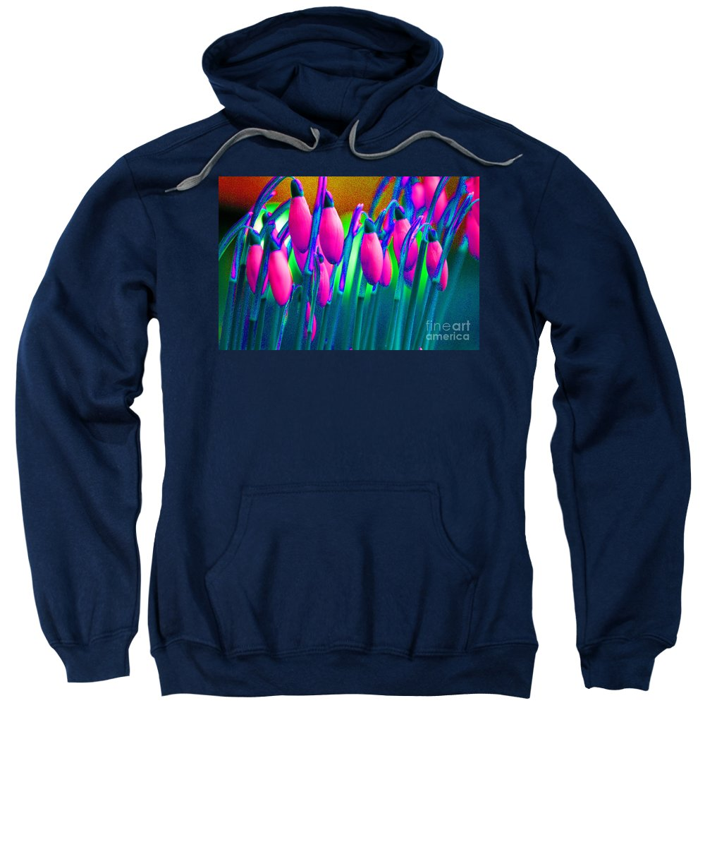 Pink Sweatshirt featuring the digital art Pink Snowdrops by Carol Lynch