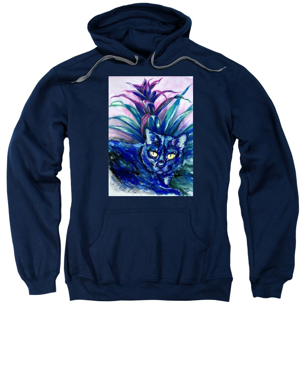 Cat Portrait Sweatshirt featuring the painting Pixie by Ashley Kujan