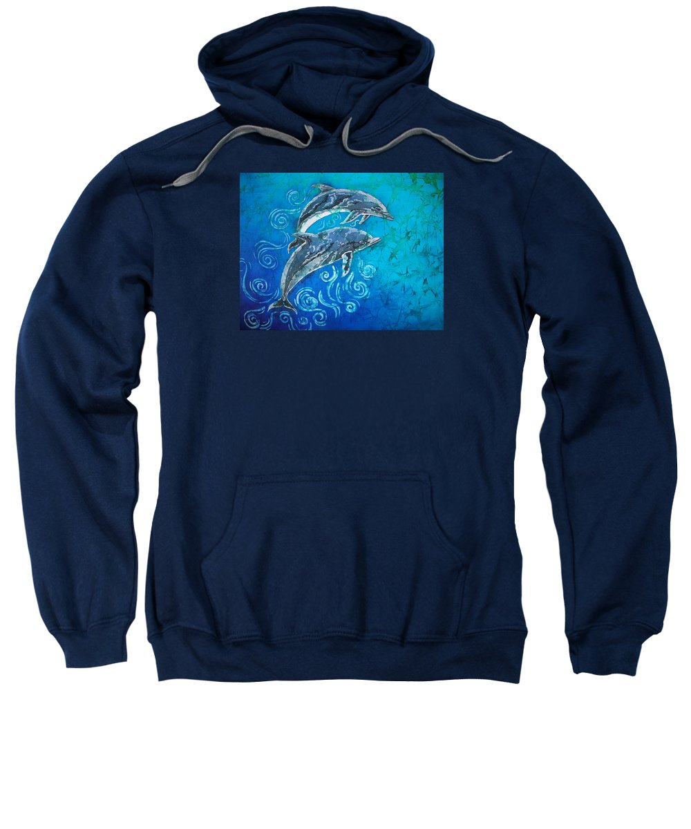Porpoise Sweatshirt featuring the painting Porpoise Pair by Sue Duda