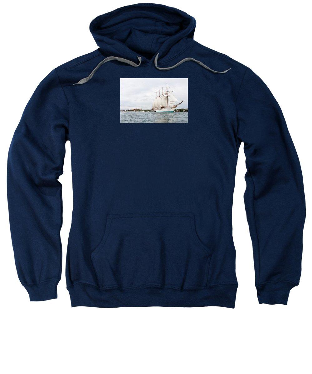 Bay Sweatshirt featuring the photograph Juan Sebastian De Elcano Famous Tall Ship Of Spanish Navy Visits Port Mahon In Front Of Bloody Islan by Pedro Cardona Llambias