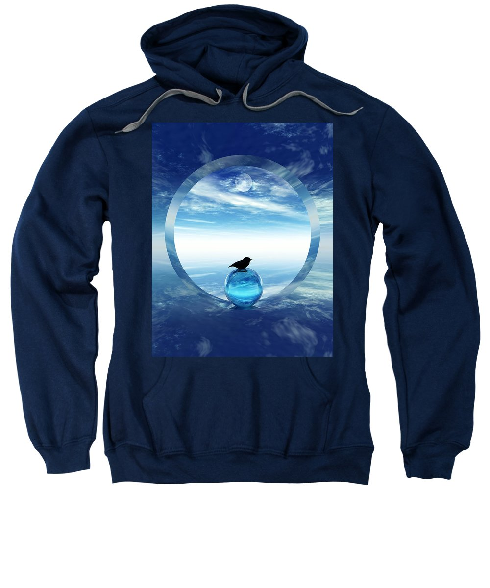 Portal Sweatshirt featuring the digital art Portal To Peace by Richard Rizzo
