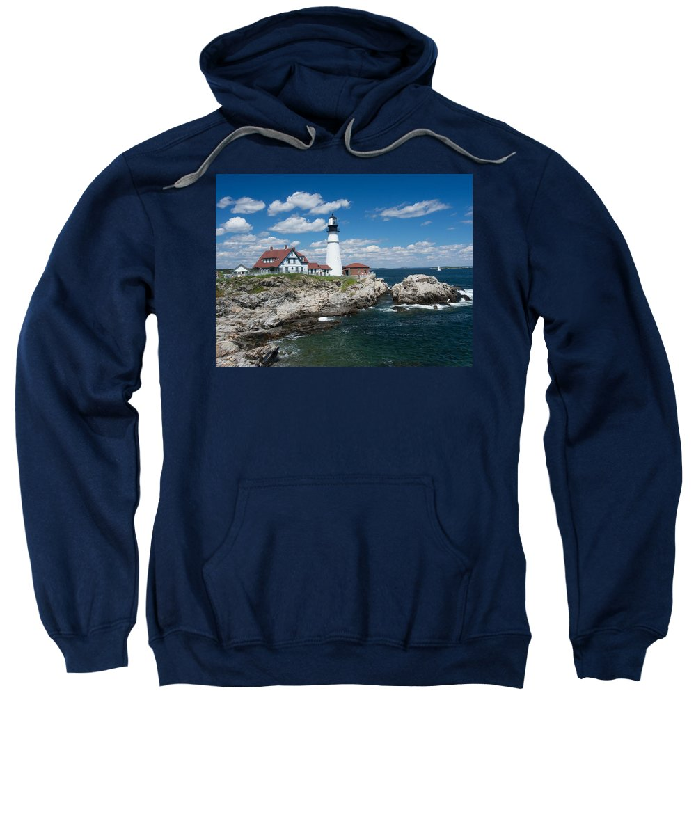 Buildings Sweatshirt featuring the photograph Portland Headlight 0219 by Guy Whiteley