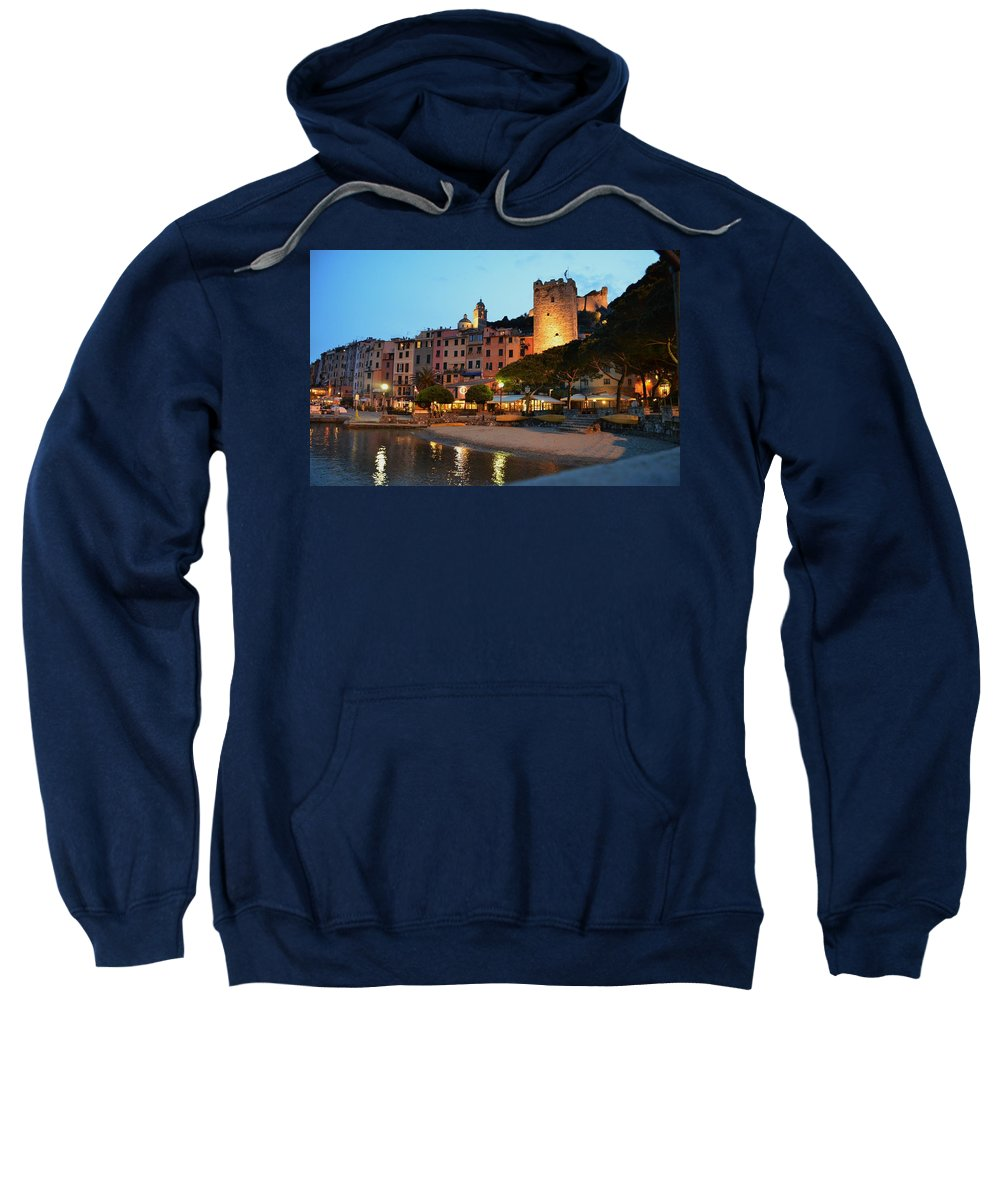 Portovenere Sweatshirt featuring the photograph Portovenere At Night by Dany Lison