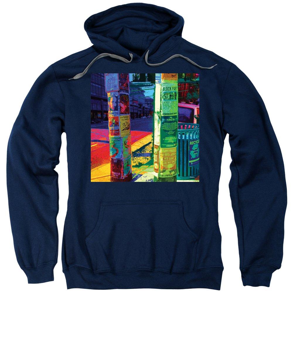 Abstract Sweatshirt featuring the digital art Post No Bills Panel 1 Of 3 by James Kramer