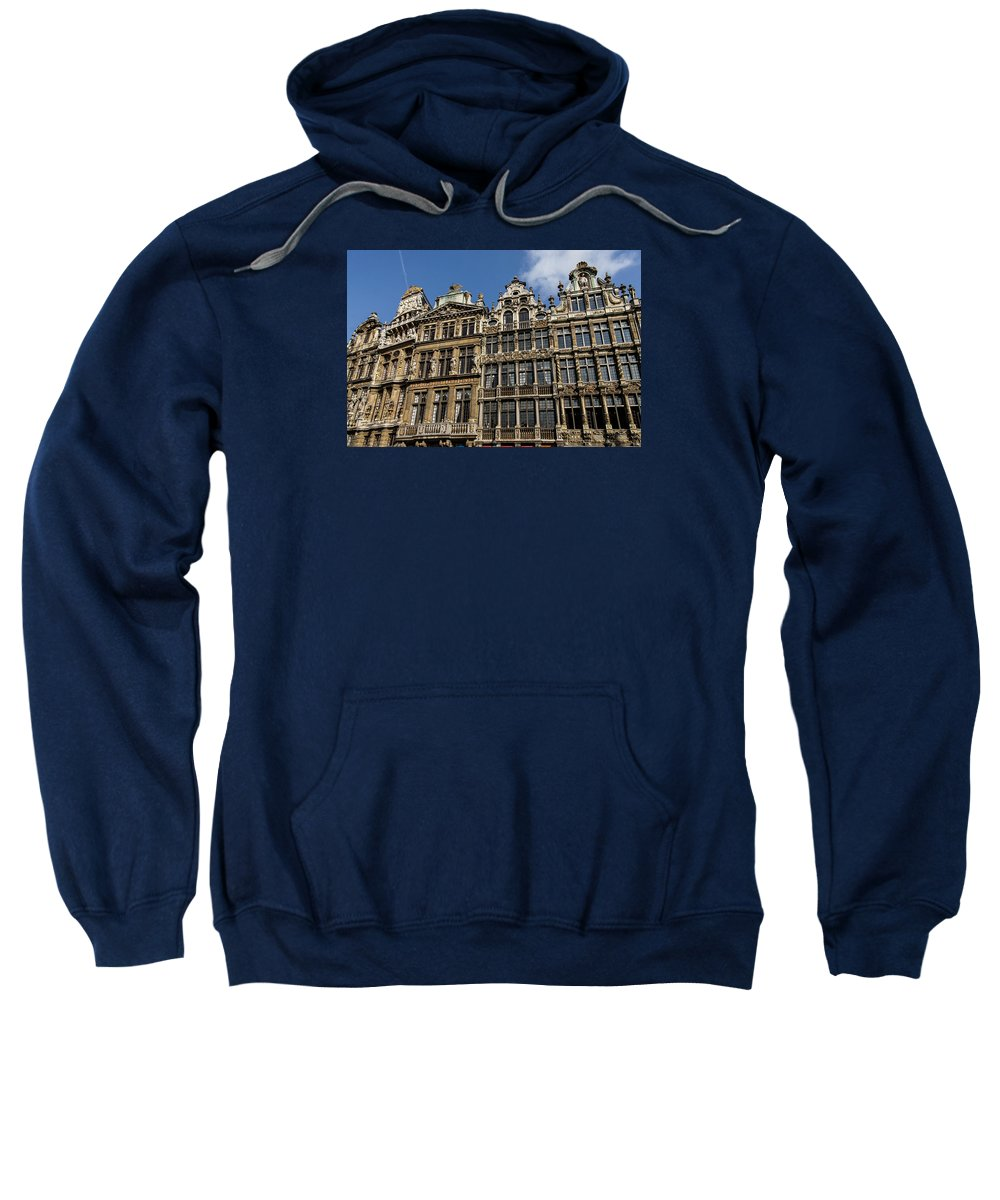 Georgia Mizuleva Sweatshirt featuring the photograph Postcard From Brussels - Grand Place Elegant Facades by Georgia Mizuleva