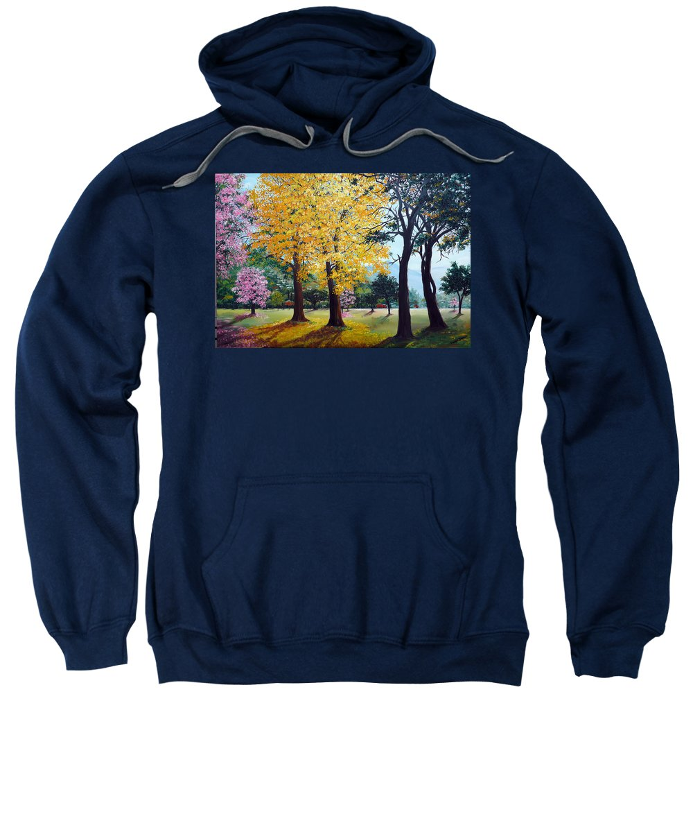 Tree Painting Landscape Painting Caribbean Painting Poui Tree Yellow Blossoms Trinidad Queens Park Savannah Port Of Spain Trinidad And Tobago Painting Savannah Tropical Painting Sweatshirt featuring the painting Poui Trees In The Savannah by Karin Dawn Kelshall- Best