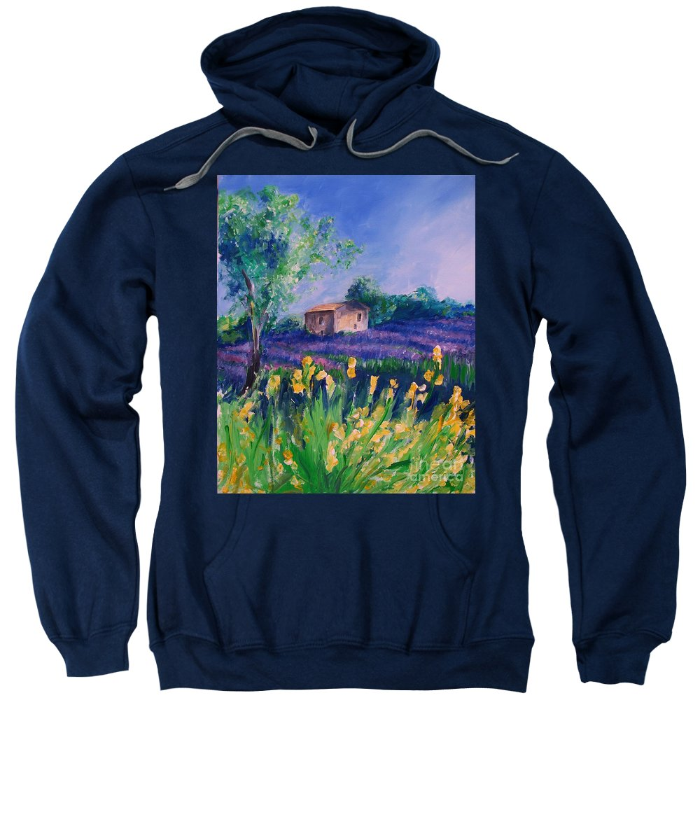 Floral Sweatshirt featuring the digital art Provence Yellow Flowers by Eric Schiabor